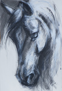 Stingin' Belle, contemporary equestrian art, mixed media painting,