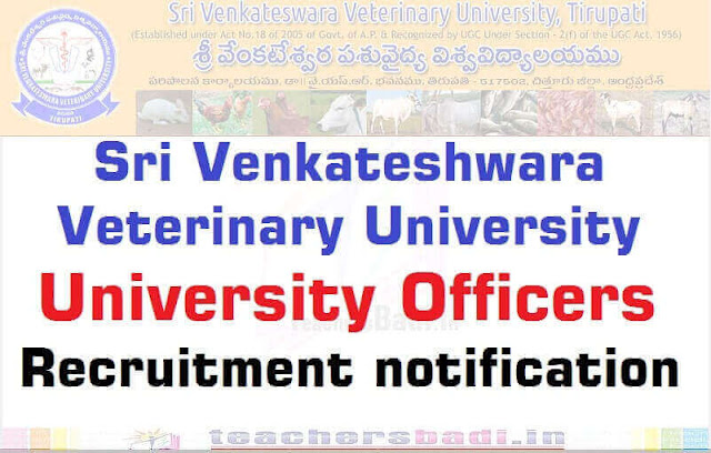 SVVU,Sri Venkateshwara Veterinary University Officers,Recruitment 2016