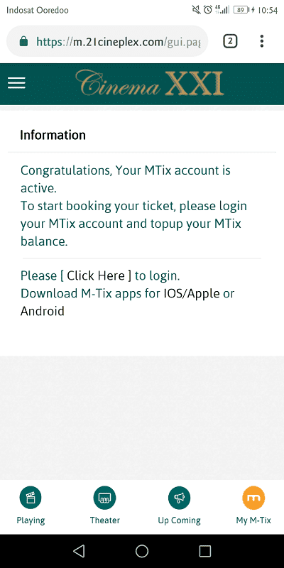 akun mtix sudah terdaftar dan terverivikasi