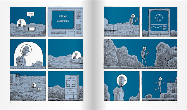 Páginas interiores del cómic o novela gráfica Un policía en la luna de Tom Gauld