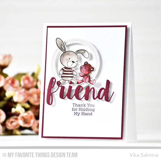 Handmade card from Vika Salmina featuring Snuggle Bunnies stamp set, Friends and Single Stitch Line Circle Frames Die-namics #mftstamps