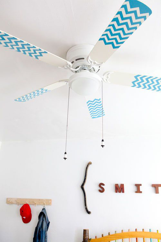Diy chevron pattern fan blades via Design Sponge #ceilingfan #diy