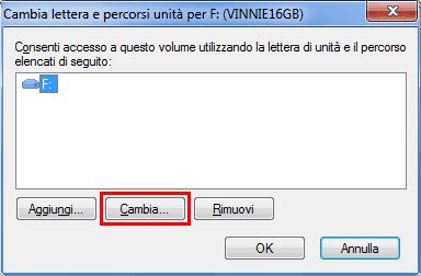 Windows Gestione disco pulsante Cambia lettera unità