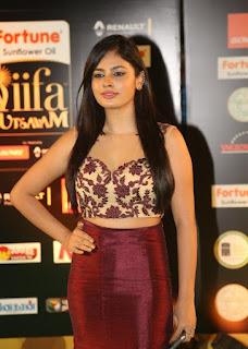 Nandita Swetha at IIFA Utsavam Awards ina Beige Choli and Maroon Skirt