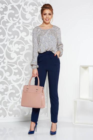 Pantaloni albastri-inchis office cu talie inalta din stofa usor elastica cu buzunare