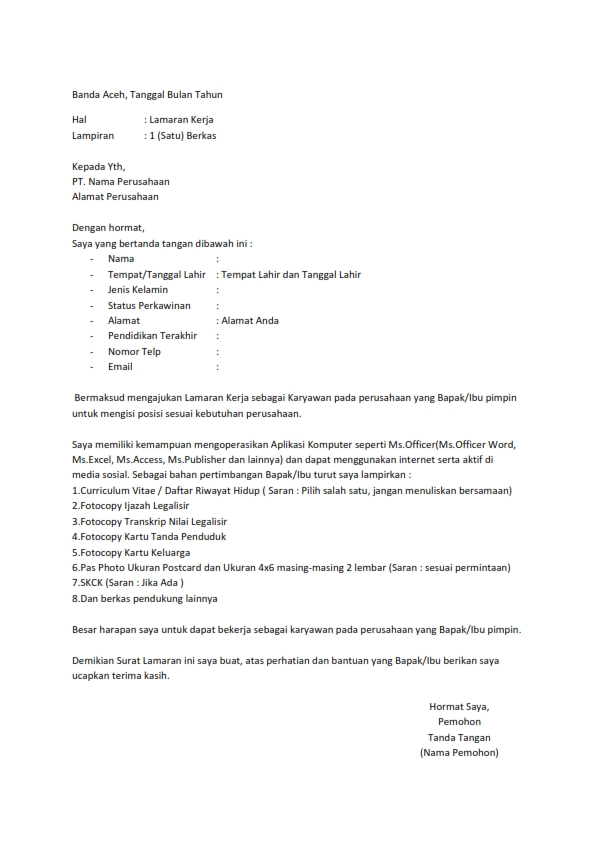 Contoh Membuat Surat Lamaran Pekerjaan Inisiatif Sendiri