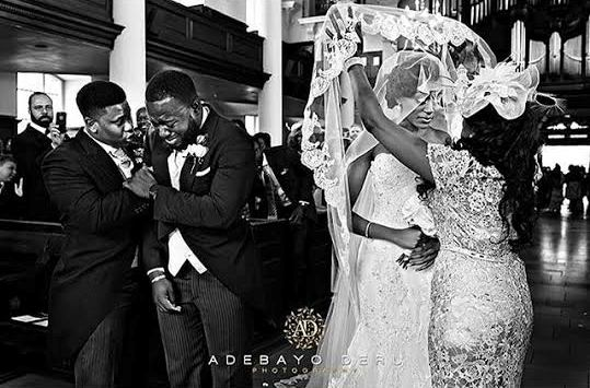 picture of black groom gabriel deku crying at his wedding in London