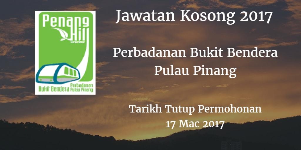 Jawatan Kosong Perbadanan Bukit Bendera Pulau Pinang 17 Mac 2017