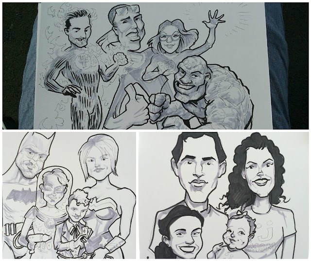 A collage of different families in Caricature Art