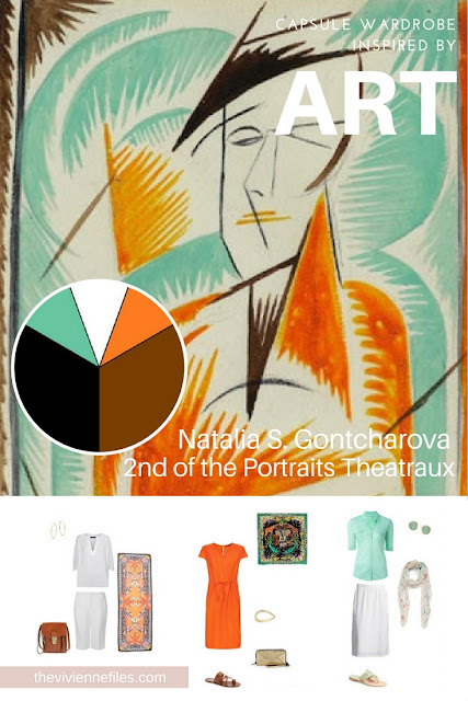 A travel capsule wardrobe in brown, black, green, and orange based on 2nd of the Portraits Theatraux by Natalia S. Gontcharova