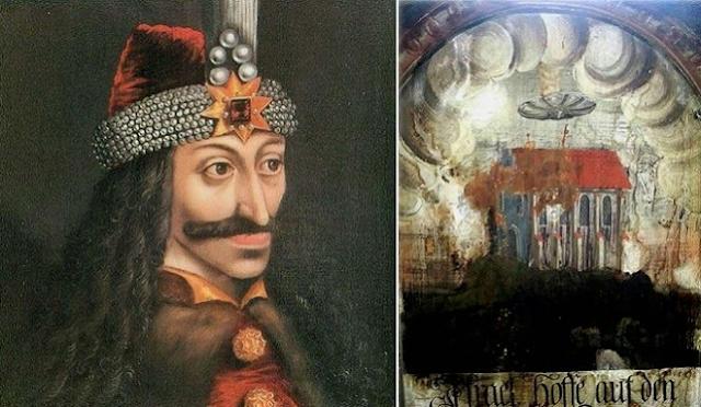 UFO scoperto in un vecchio quadro in Romania nella città natale di Dracula.