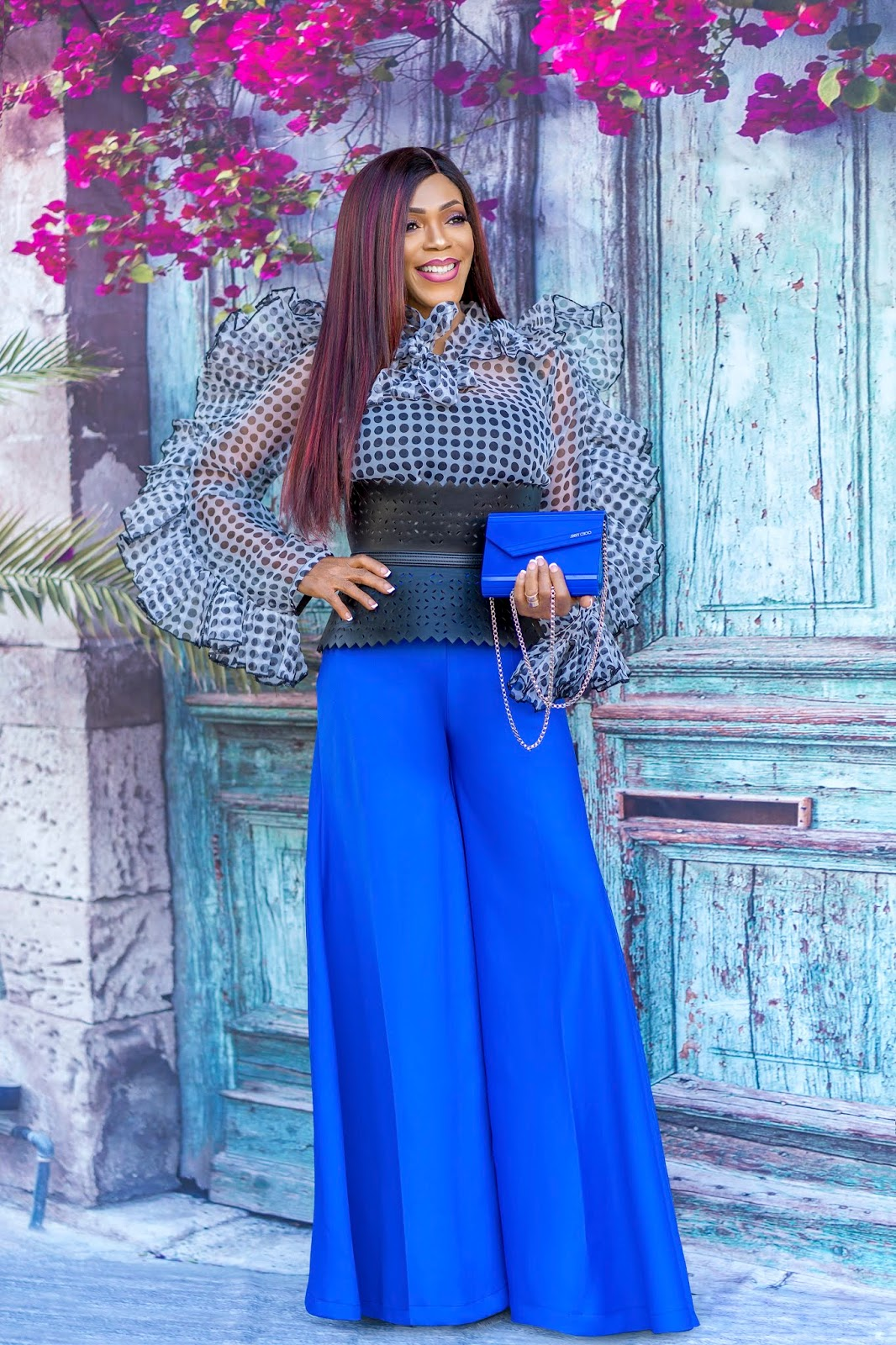 Polka Dot Sheer Top + Wide Leg Pants