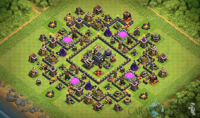 Base Trophy TH 9 COC Update Bomb Tower Terbaru 2017 Tipe 15