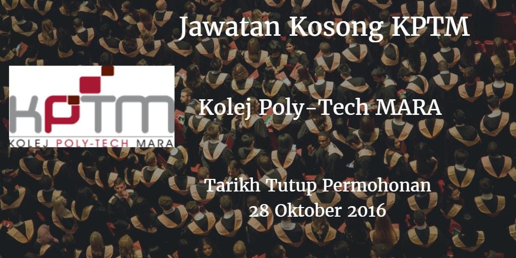 Jawatan Kosong KPTM 28 Oktober 2016