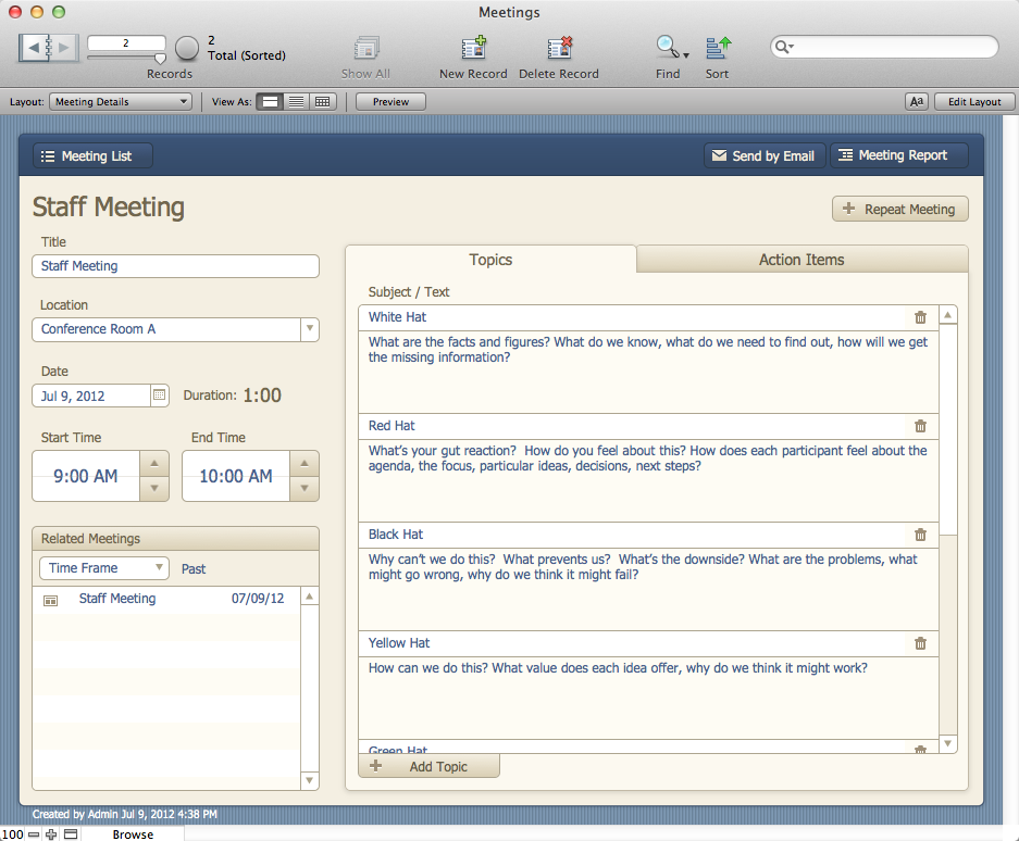 The Mac Office: Meetings: FileMaker Pro 12 Starter Solution