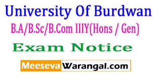 University Of Burdwan B.A/B.Sc/B.Com IIIY(Hons / Gen) P-II/III (ENVS)2017 Exam Notice