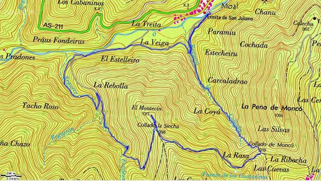 Mapa Topográfico Ruta del Bosque de Moal PR.AS-132 Cangas del Narcea