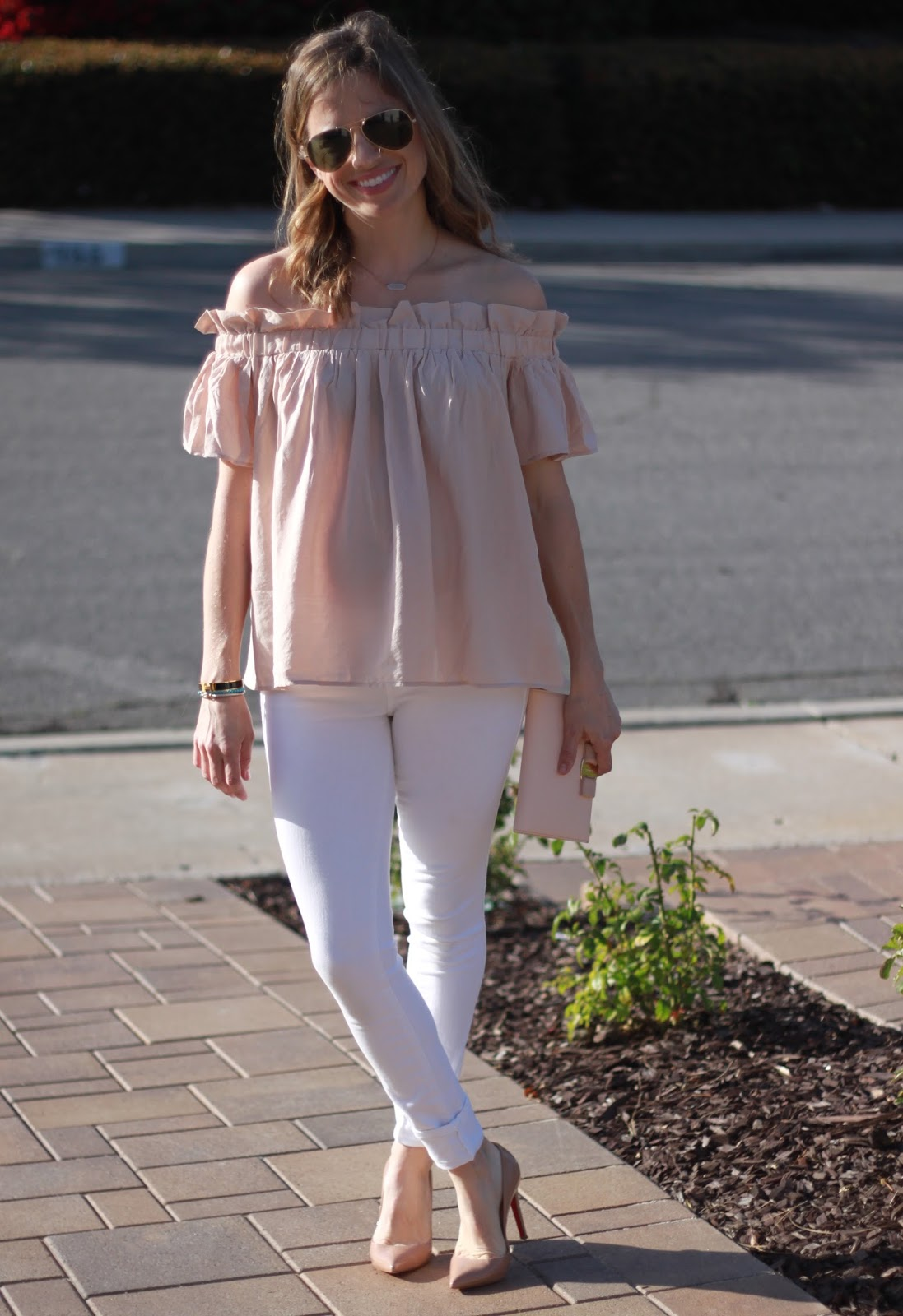 blush off the shoulder top and white jeans
