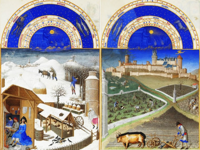 The seasonal cyclical panels from Les Tres Riches Heures du Duc de Berry, ca. 1400.