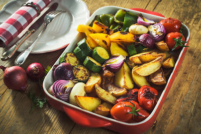 Oven roasted vegetables vegetarian vegan meal base chargrilled vegetables