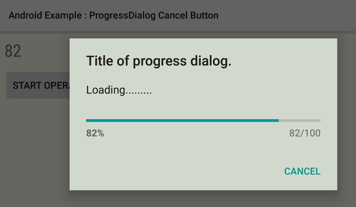how to set cancel button in a progressdialog in android