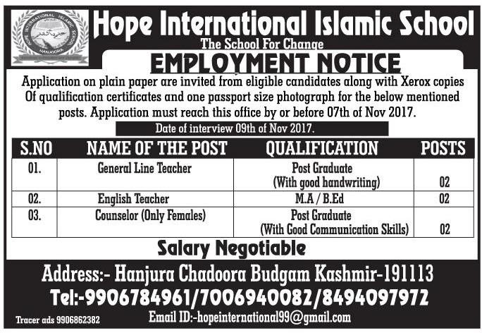 Hope International Islamic School has teaching & non-teaching jobs