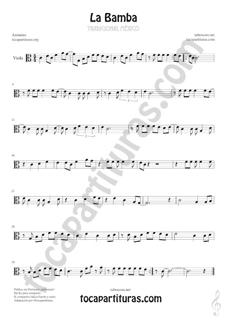 La Bamba Sheet Music for Viola Music Score