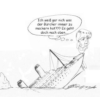 Christian Hildebrandt, Karikatur, Angela Merkel, der sinkende Kahn, Kanzlerin, Titanic, Eisberg