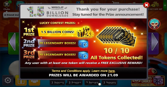 Get Avatar and 1.5 Billion coins 8 ball pool