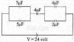5 kapasitor tersusun seri dan paralel, besar energi listrik pada rangkaian tersebut