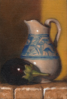 Still life oil painting of a small eggplant beside a blue and white porcelain jug.