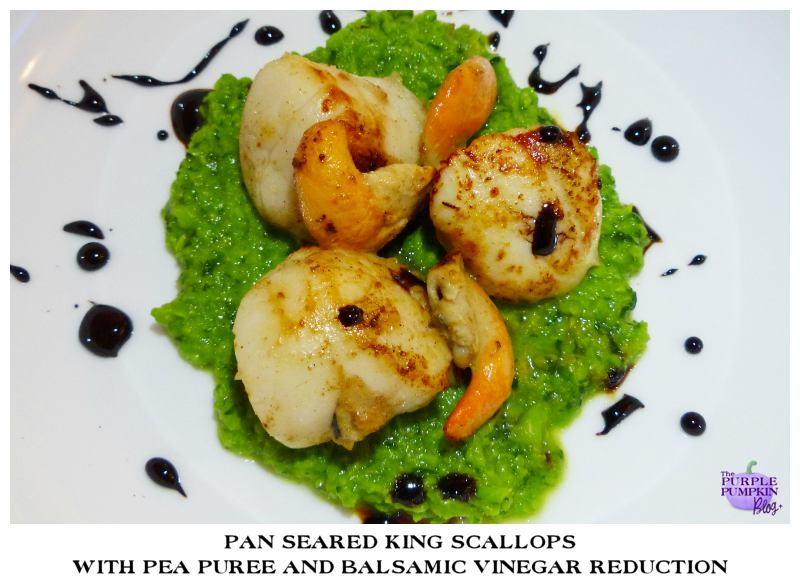 Pan Seared King Scallops with Pea Puree and Balsamic Vinegar Reduction