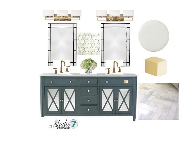 Master Bathroom, Brass, gold, antiqued gold, glass chandelier, marble, carrarra marble, gray, teal, double sink, vanity, 3D, 3D renderings, widespread faucet, free standing tub, ihomeregistry, interior design, interiors, bathroom