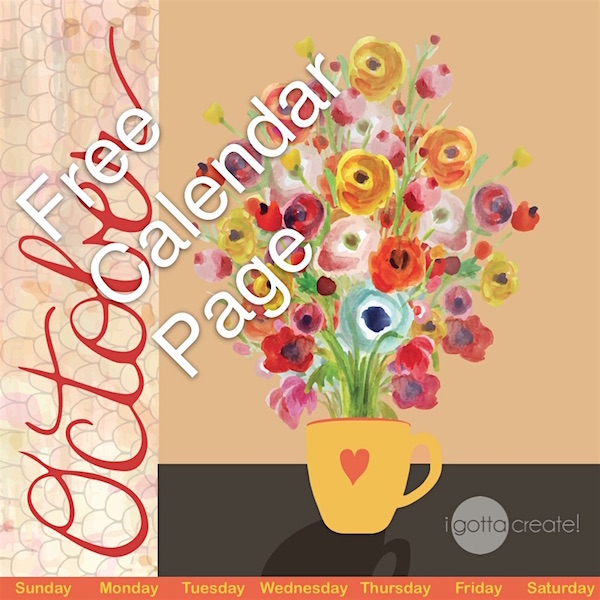 Free October printable calendar page available at I Gotta Create!