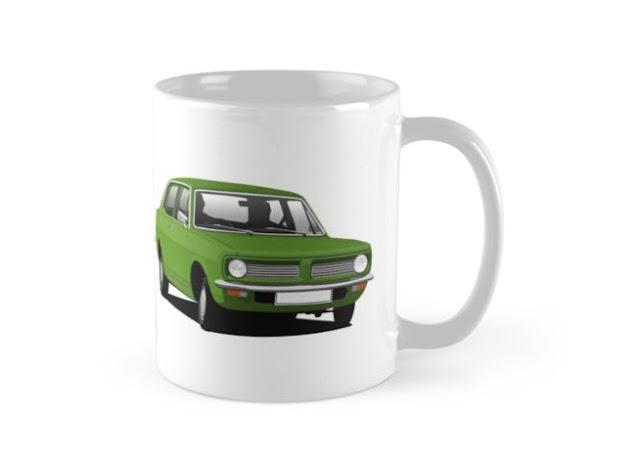 Green vintage Morris Marina - car coffee mug
