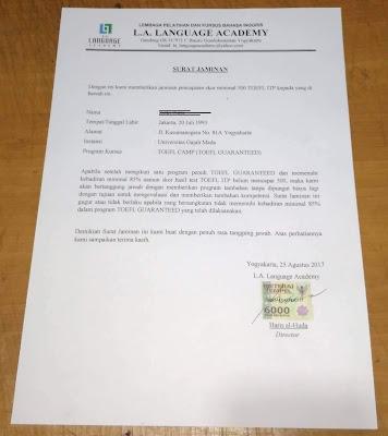 Contoh surat jaminan bermaterai untuk minimal skor 500