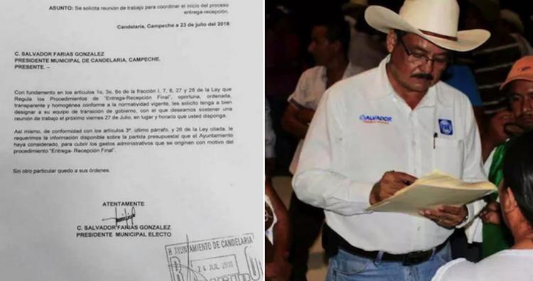 Alcalde de Campeche se cita a sí mismo en una carta oficial para iniciar el proceso de entrega de poder.