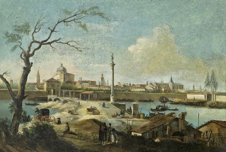 Giuseppe Bernardino Bison - Capriccio mit der Ansicht von Padua (c.1844)