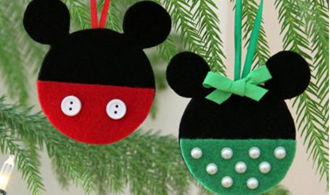 7 diy mickey mouse christmas ornaments - Homemade Mickey Mouse Christmas Decorations