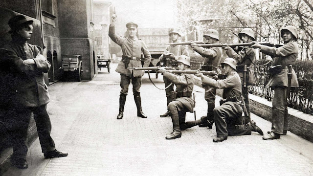Execution of a German Communist in Munich, 1919.