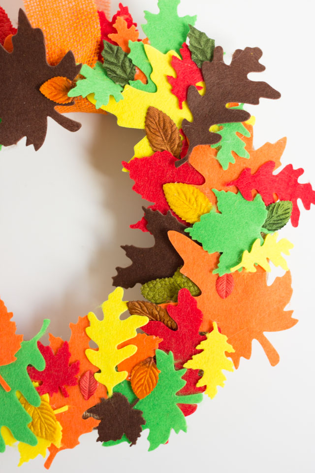 Use pre-cut felt leaves to make a beautiful wreath for fall!