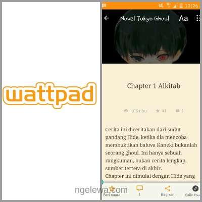 Tampilan Wattpad di Android