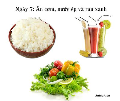 Phương pháp ăn kiêng General Motor Diet kết hợp cơm, trái cây, rau