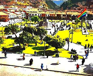 Plaza das Armas, no Centro de Cusco