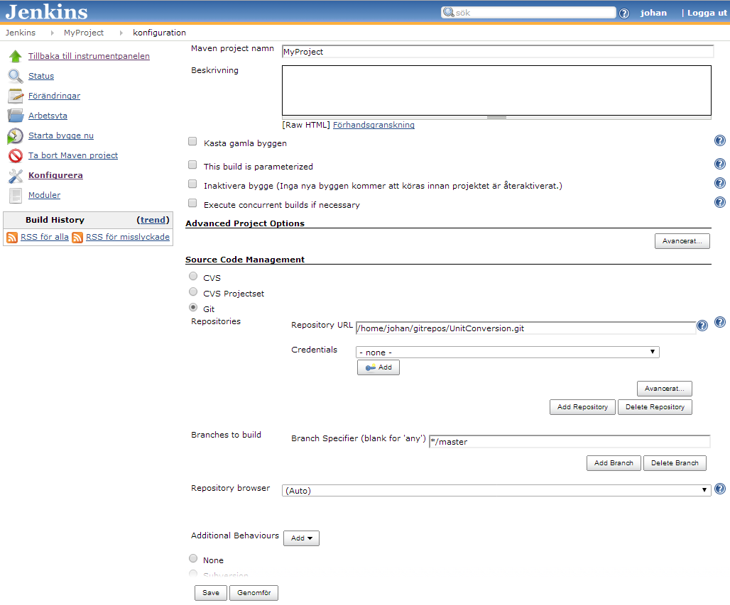 Setup Jenkins project from Git repository with Findbugs