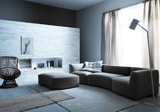 sala sofá gris