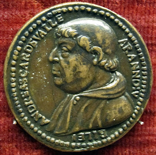 A medal bearing the image of Cardinal Andrea della Valle