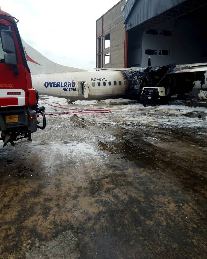 Photographs from the scene of the Overland flying machine that burst into flames at Lagos Airport