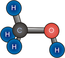 Figura 3: Molécula de metanol. (Fuente: Wikipedia)