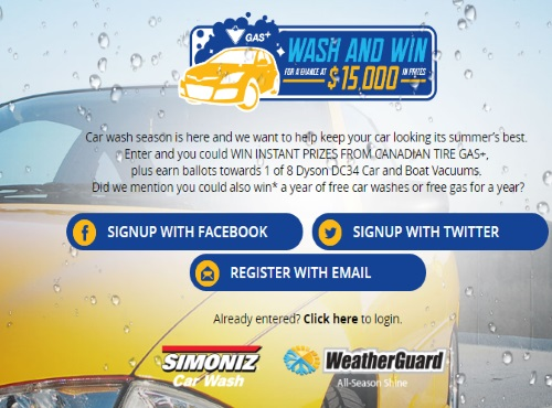 Canadian Tire Gas Wash & Win Contest